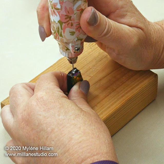 Drilling a resin cabochon from the top to string it as an earring