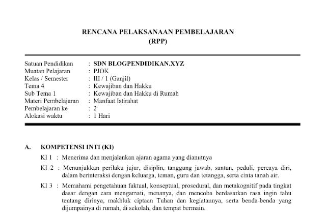 RPP PJOK Kelas 3 Tema 4 Kurikulum 2013 Revisi 2019