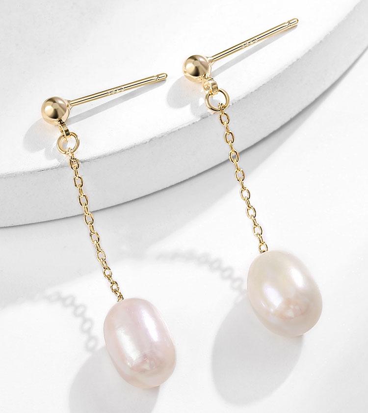 優雅簡約淡水真珍珠流蘇耳環