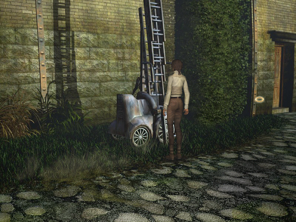 около стены дома стоит раздвижная лестница в игре сибирь