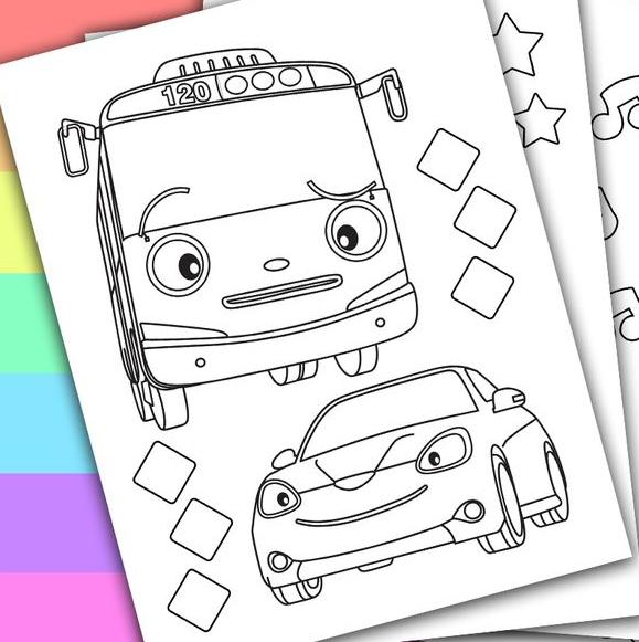 Gambar Mewarnai Tayo The Little Bus Bis Kecil Yang Baik Hati Anak Sd