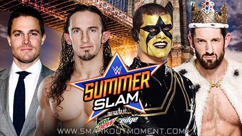 WWE SummerSlam 2015 PPV Arrow Stephen Amell Stardust Neville King Barrett