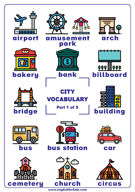 City vocabulary - printable poster for English learners