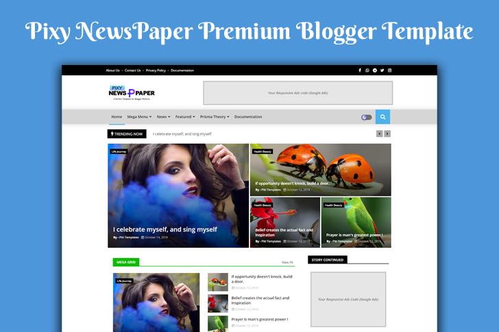 Pixy Newspaper 10 Premium Blogger Template