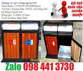 thùng rác gỗ 2 ngăn