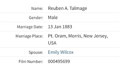 marriage of Reuben Talmage and Emily Wilcox