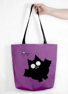 Guyuminos Bolsa de mano morada con vampiro negro