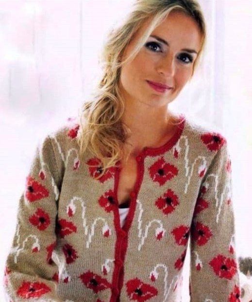 sweater with poppies