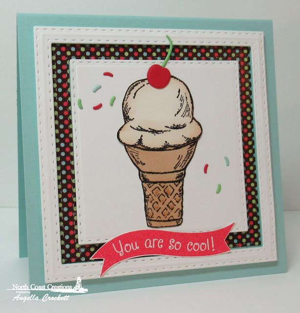 NCC What's The Scoop?, NCC Sweet Shoppe Paper Collection, ODBD Custom Beverage Cup Dies, ODBD Custom Double Stitched Squares Dies, Card Designer Angie Crockett