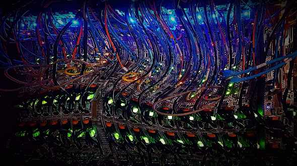 Image of computer servers, visually distorted