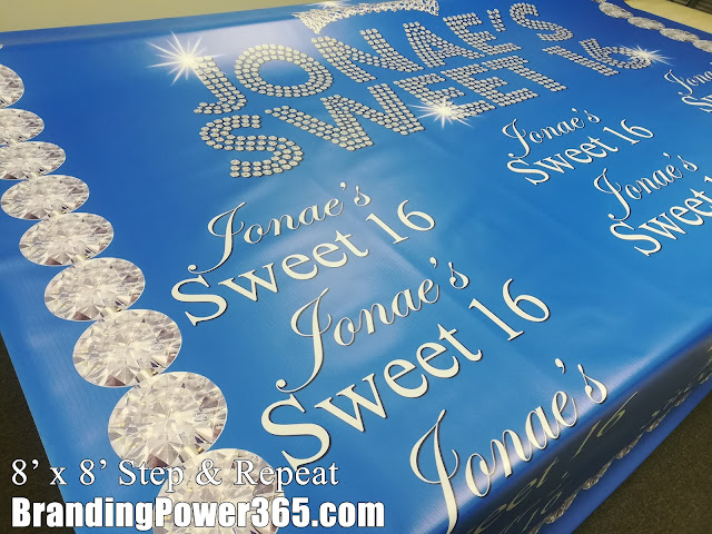 8' x 8' Step and Repeat for a Sweet 16 Birthday Girl's Party (BrandingPower365.com) #BrandingPower365