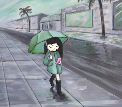 Illustration by Annette Hashitate of a girl carrying an umbrella in the rain, looking down on her smartphone. Colors are muted green, gray, and purple. Girl's umbrella and raincoat are green, wearing black galoshes, walking slick city street that recedes into the horizon with a lone palm tree on the side near the buildings. Digital painting that looks like pastels.