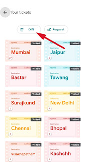 go india गेम में टिकट gift कैसे करे