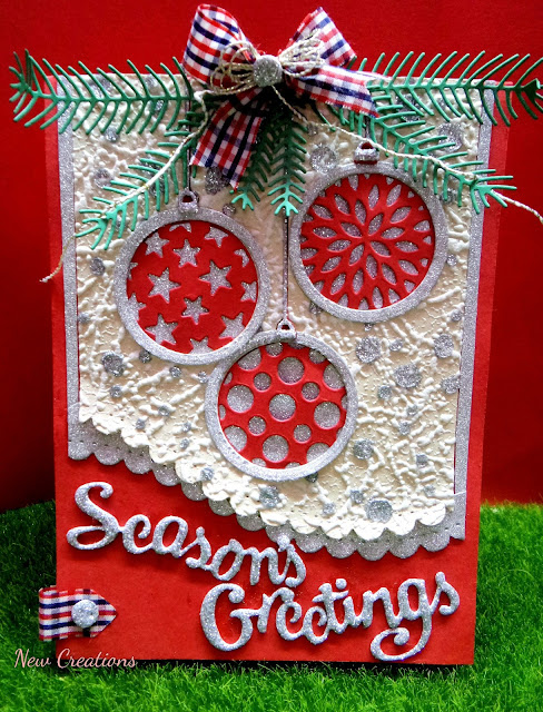 New creations seasons greetings i started with a red cs and die cut my trio of ornaments as shown in the pic so the upper part of the die will not cut and remained in it m4hsunfo