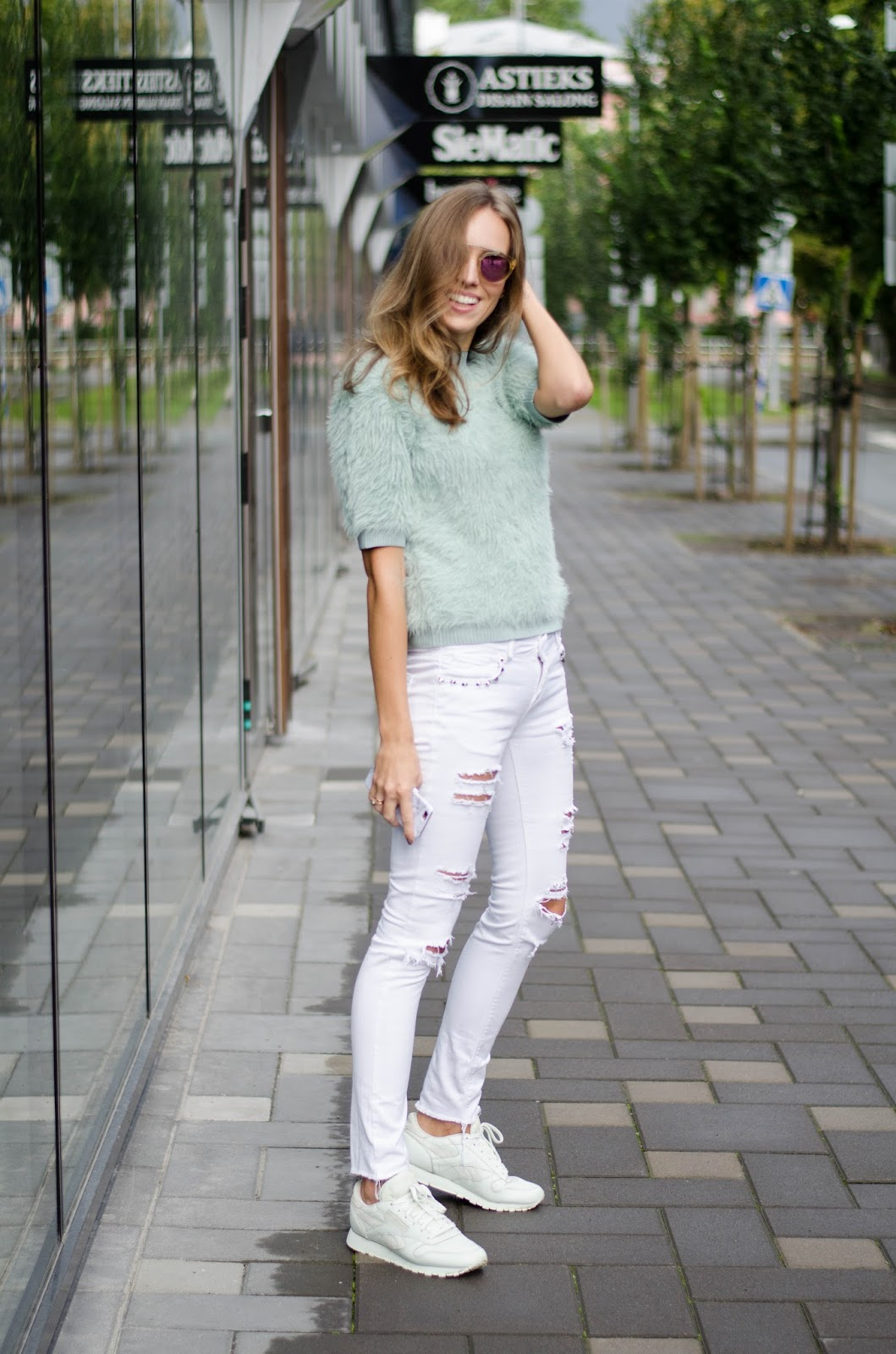 white jeans mint furry top mint sneakers outfit
