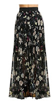 Meaneor Women's Casual Contrast Polka Dot Print Chiffon Maxi Skirts