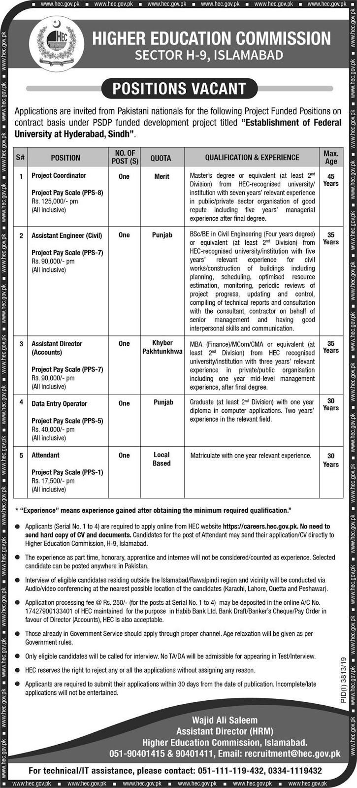 HEC Jobs 2020 Higher Education Commission Apply Online