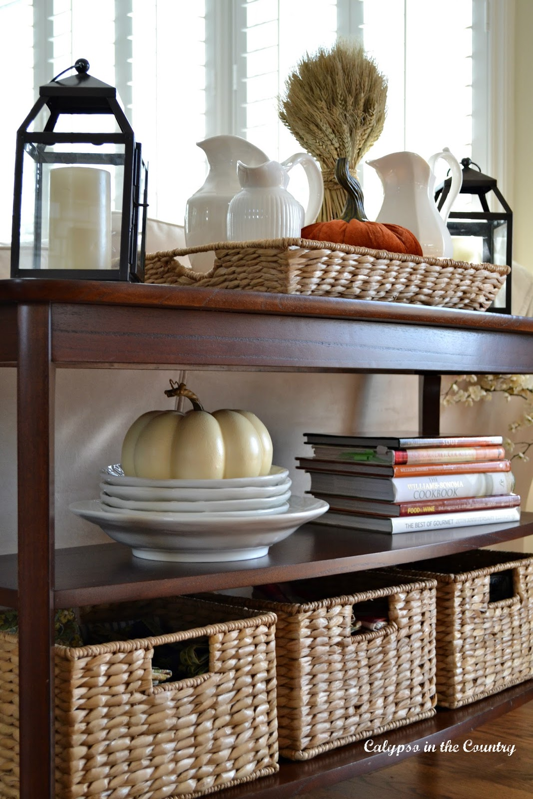 Shelves with fall colored accessories
