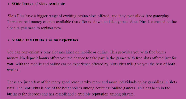 Slots Plus-The Best Online Casino We offer the Best Online