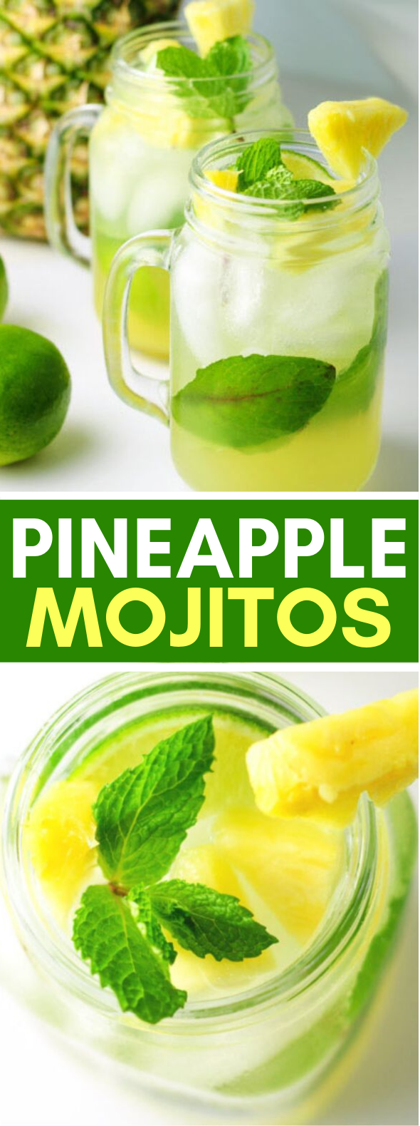 PINEAPPLE MOJITOS #drinks #cocktail