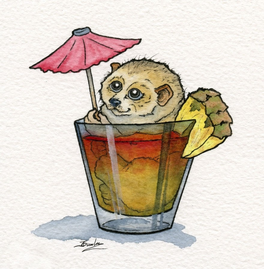 04-Slow-Loris-Mai-Tai-Jon-Guerdrum-Drawings-of-Surreal-Drinking-Visions-of-Animals-www-designstack-co