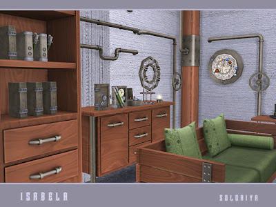 Isabela Гостиная Изабел для The Sims 4 Набор мебели для вашего стимпанка или промышленного дома. Имеет 14 объектов и 3 цветовые палитры. Предметы в наборе: - двойной диван - кресло - два узких стола - стеллаж - тумбочка - журнальный столик - четыре вида труб - потолочный дирижабль - две настенные декорации. Автор: soloriya