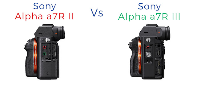 Sony a7R II vs Sony a7R III connection port comparison on side of camera