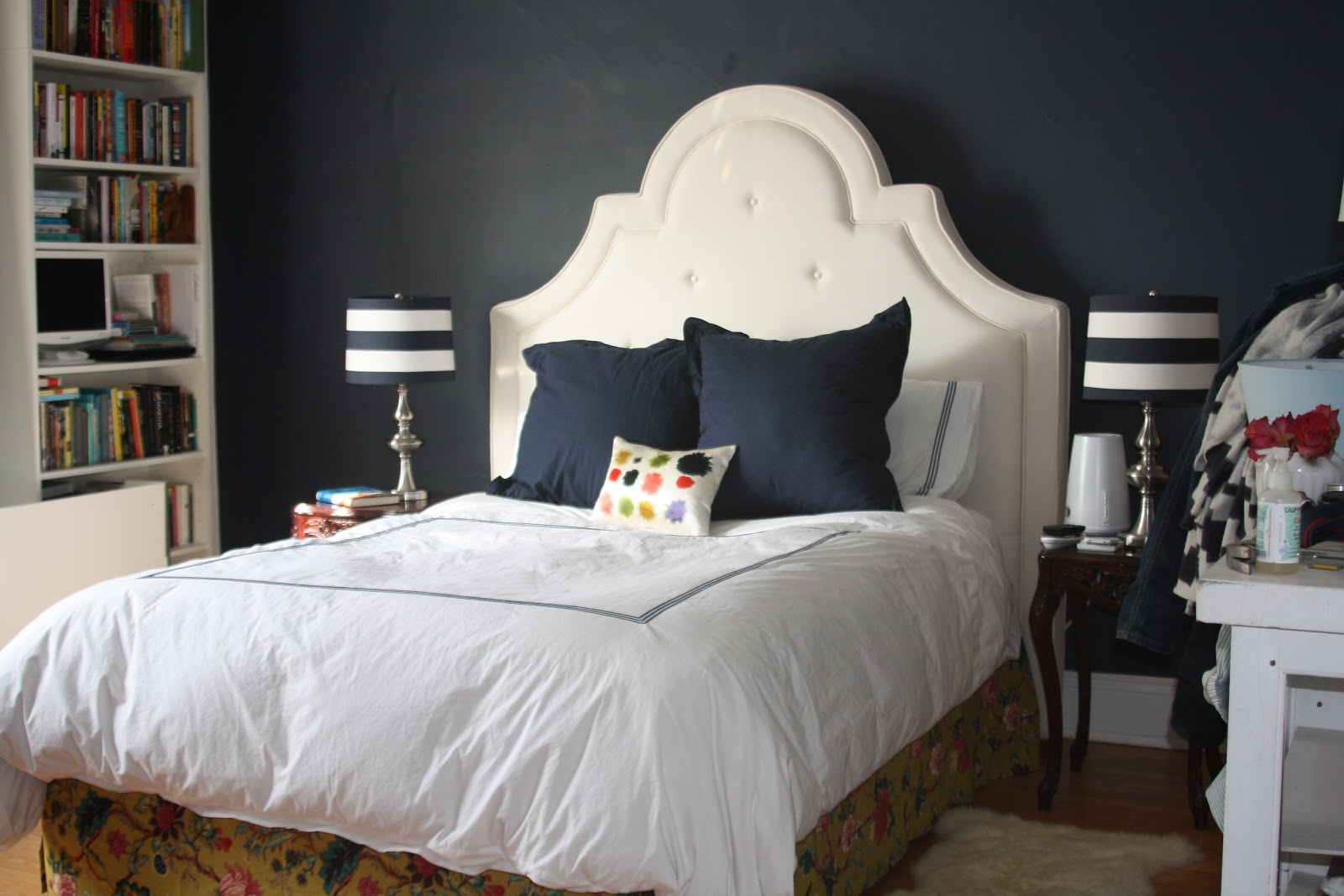 Pottery Barn York West Elm color splotch bedroom redecorating dark walls