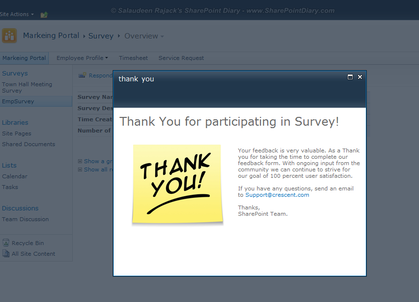 sharepoint 2010 survey add thank you page