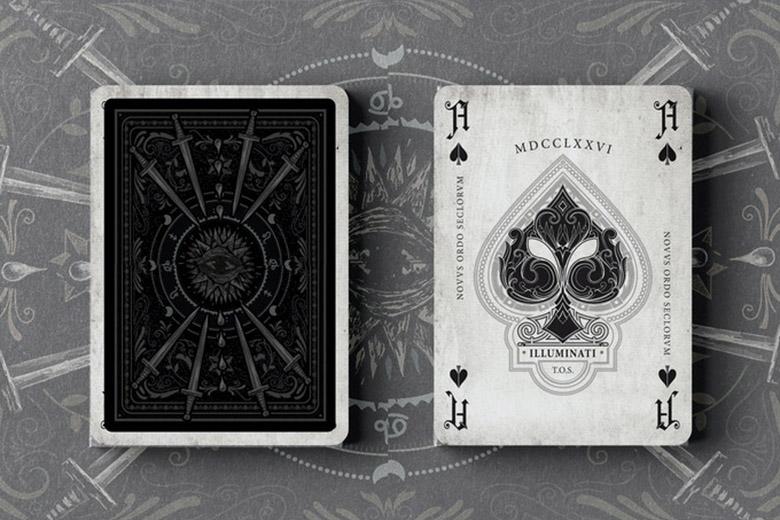 Illuminati card backs and ace of spades