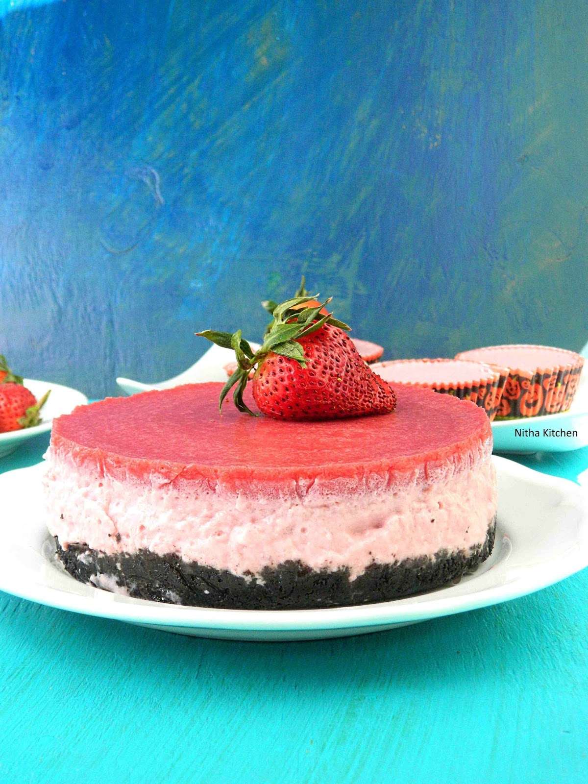 No Bake Low Fat Strawberry Cheesecake or Jello Cake Using Curd ...