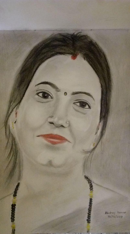 Pencil sketch drawing of jyoti kumari from bhagalpur smart city bihar by akshay kumar