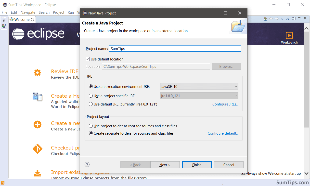 Create new project in Eclipse IDE