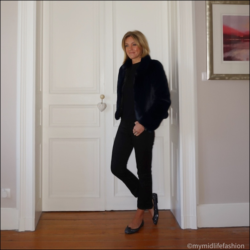 my midlife fashion, Helen Moore faux fur jacket,  h and m short sleeve cashmere knit, j crew cropped kick flare jeans, French sole Henrietta glitter ballet pumps