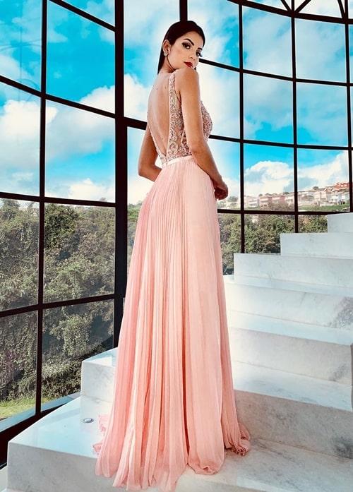vestido de festa longo rose plissado