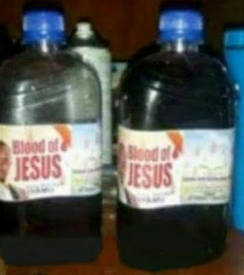 What? Pastor sells 'the blood of Jesus' in plastic bottles? (see photo)
