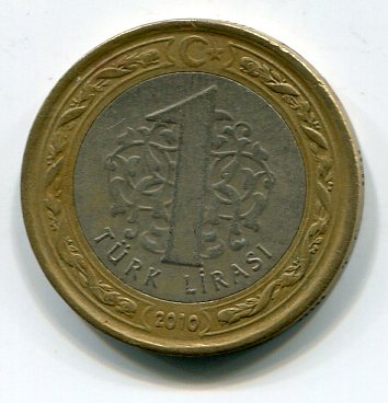 The Obverse Of One 1 Turkish Lira Coin 100 Kurus Shows Denomination In Centre Crescent And Star