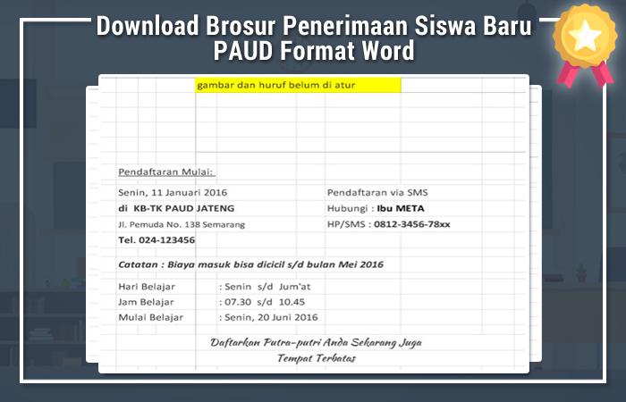Download Brosur Penerimaan Siswa Baru Paud Format Word Paud