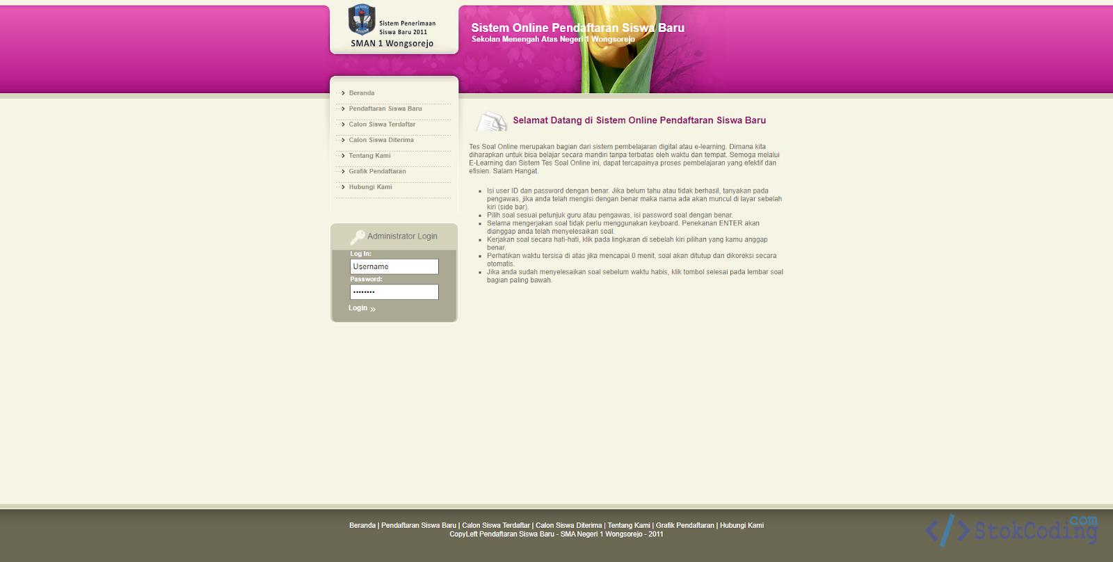 Sistem Aplikasi Pendaftaran Siswa Baru Online (PHP)