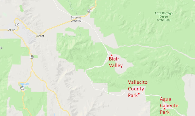 Vicinity map of Agua Caliente and Vallecito Parks
