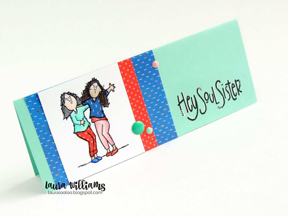 The perfect slimline card for your best friend! This Hey Soul Sister card is simple and fits in a standard business envelope. Slimline cards are so much fun to make, and your bestie will love this one, using stamps from Impression Obsession.