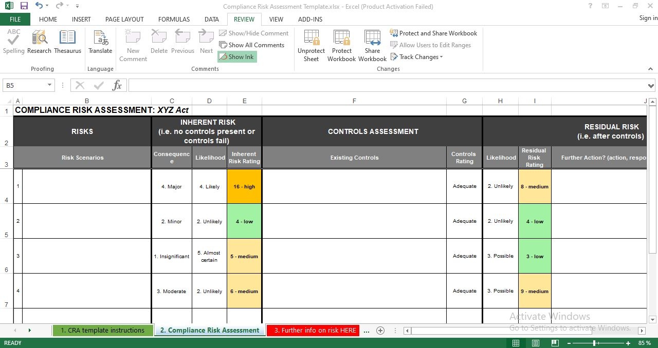 Compliance Risk Assessment template excel