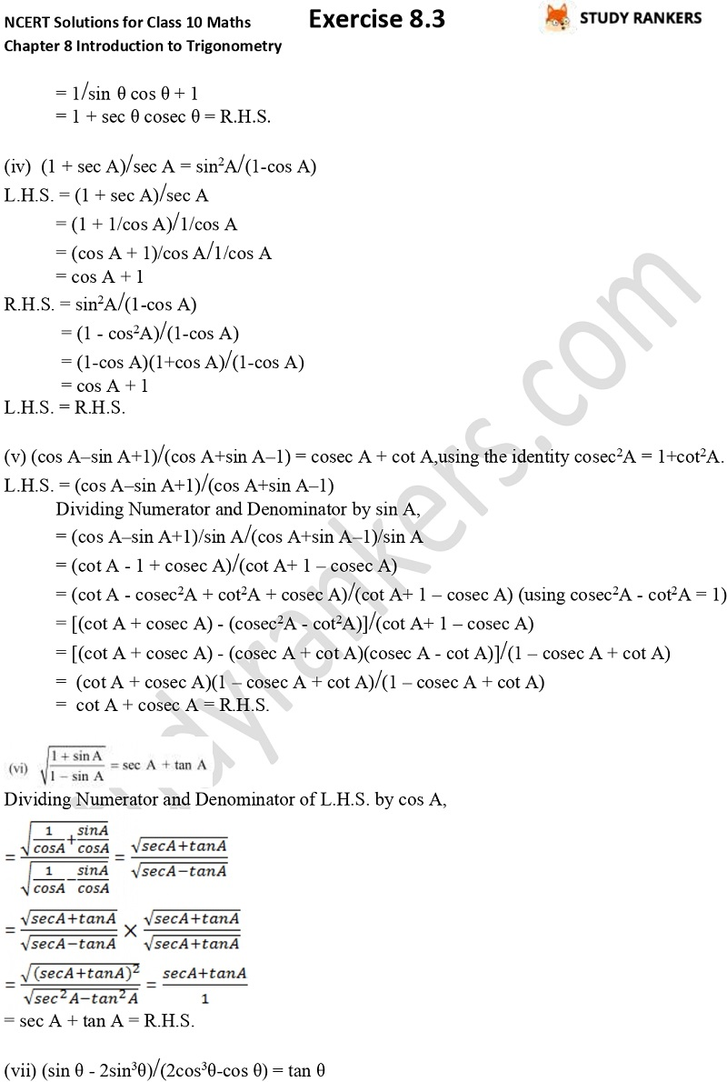 NCERT Solutions for Class 10 Maths Chapter 8 Introduction To Trigonometry Exercise 8.4 Part 5