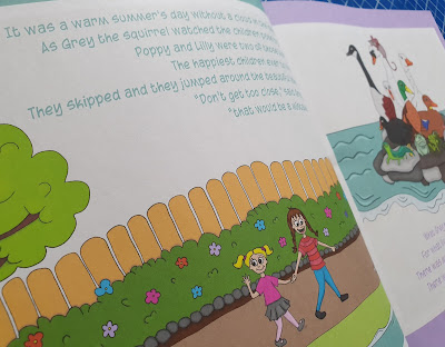 Hippocrocohog childrens story book inside page with 2 children walking to the park