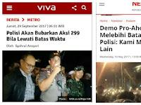 Polisi Ancam Bubarkan Aksi 299 Bila Lewat Batas Waktu, Netizen: Aksi Bela Ahok Kok Boleh Sampai Malam?