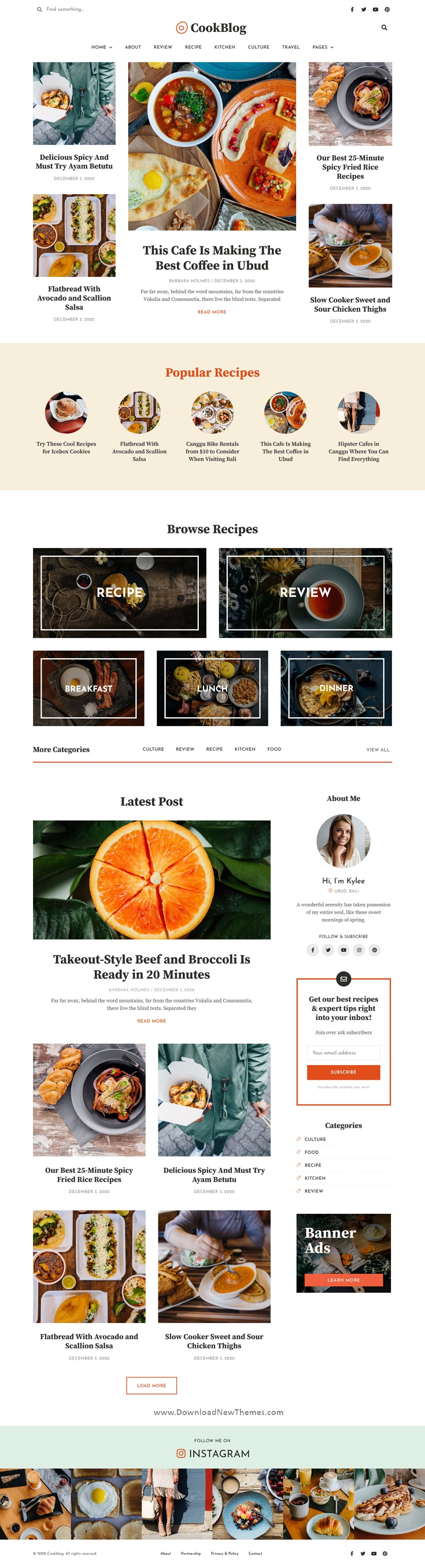 Food and Personal Blog Elementor Template Kit