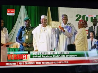 INEC Presents Certificate Of Return To Buhari, Osinbajo