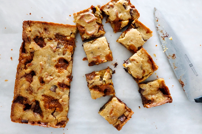 blondies cut up on counter