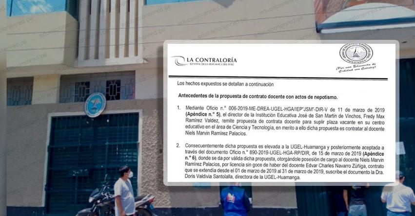 Directora de la UGEL Huamanga estaría involucrada en caso de nepotismo en colegio José de San Martín de Vinchos, según informe de Contraloría