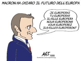 macron, europa, futuro, progetti politici, UE, unione europea, vignetta, satira